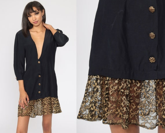 Black V Neck Dress 80s Mini Gold Lace Trim Drop Waist Shift Dress Button Up 1980s Vintage Plunge Neckline Plunging Long Sleeve Small