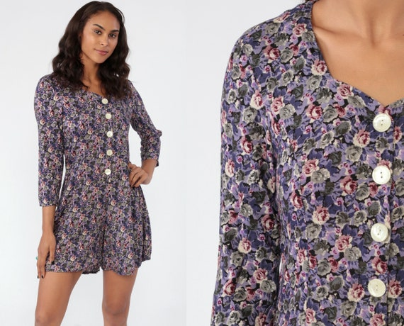 Floral ROMPER Dress Playsuit 90s Mini Dress Grunge Purple One Piece Woman Skort Button Up Long Sleeve Vintage 1990s Summer Small Medium