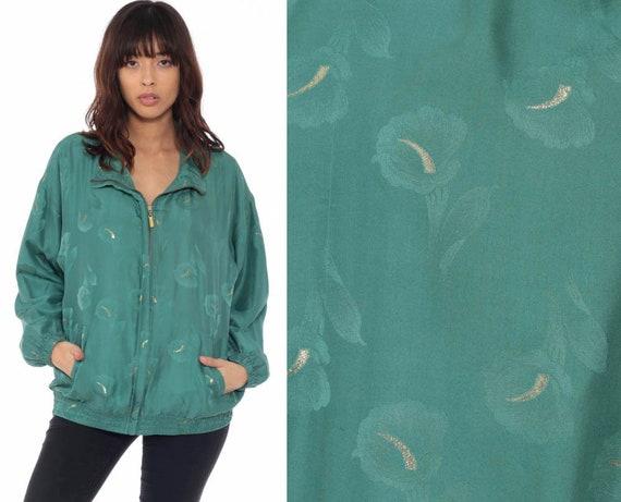 Green Floral Jacket GOLD LILY PRINT 90s Silk Windbreaker Jacket Bomber Retro Warmup Jacket Sports Warm Up Jacket Vintage 1990s Retro Large