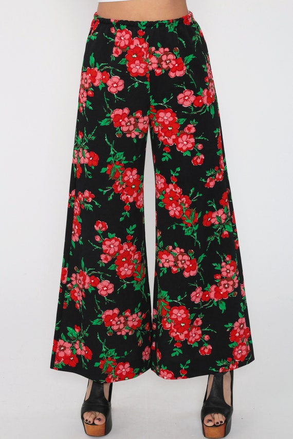 Vintage 70s OP ART Dots Mod Hippie High-Waist Wide Leg Abstract Palazzo Bell Bottoms Pants Size S