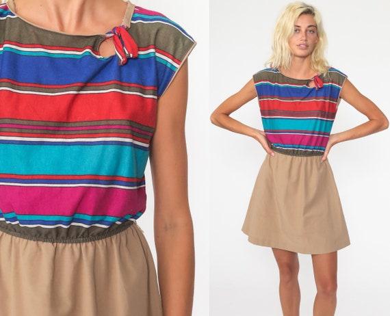 Striped Mini Dress 70s Keyhole Dress 1970s Boho Ke