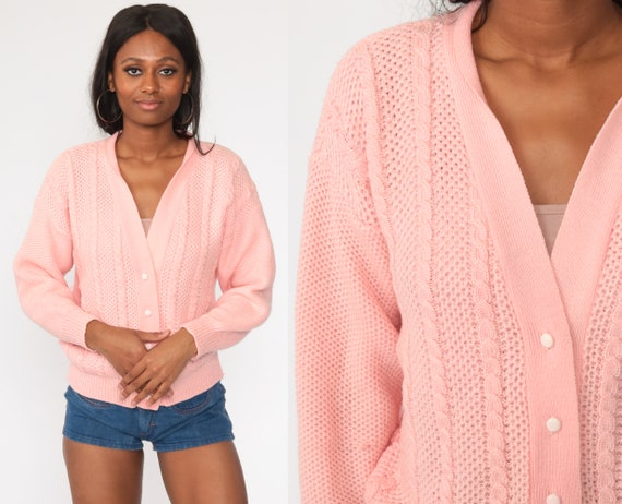 Pink Cable Knit Cardigan 70s Boho Sweater Pastel Grandma Sweater Cableknit Button Up 80s Vintage Bohemian 1970s Boho Medium