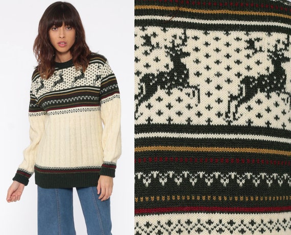 Reindeer Sweater DEER 80s Vintage Cable Knit Jantzen Boho Slouchy Ski Pullover Christmas 1980s Nordic Bohemian Cream Extra Small xs