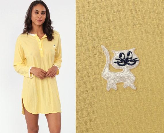 Cat Pajama Dress 70s Nightgown Kitten Nightie Yellow Graphic Retro Sleep Kawaii Pajamas Cute 1970s Mini Yellow Women's Small Medium