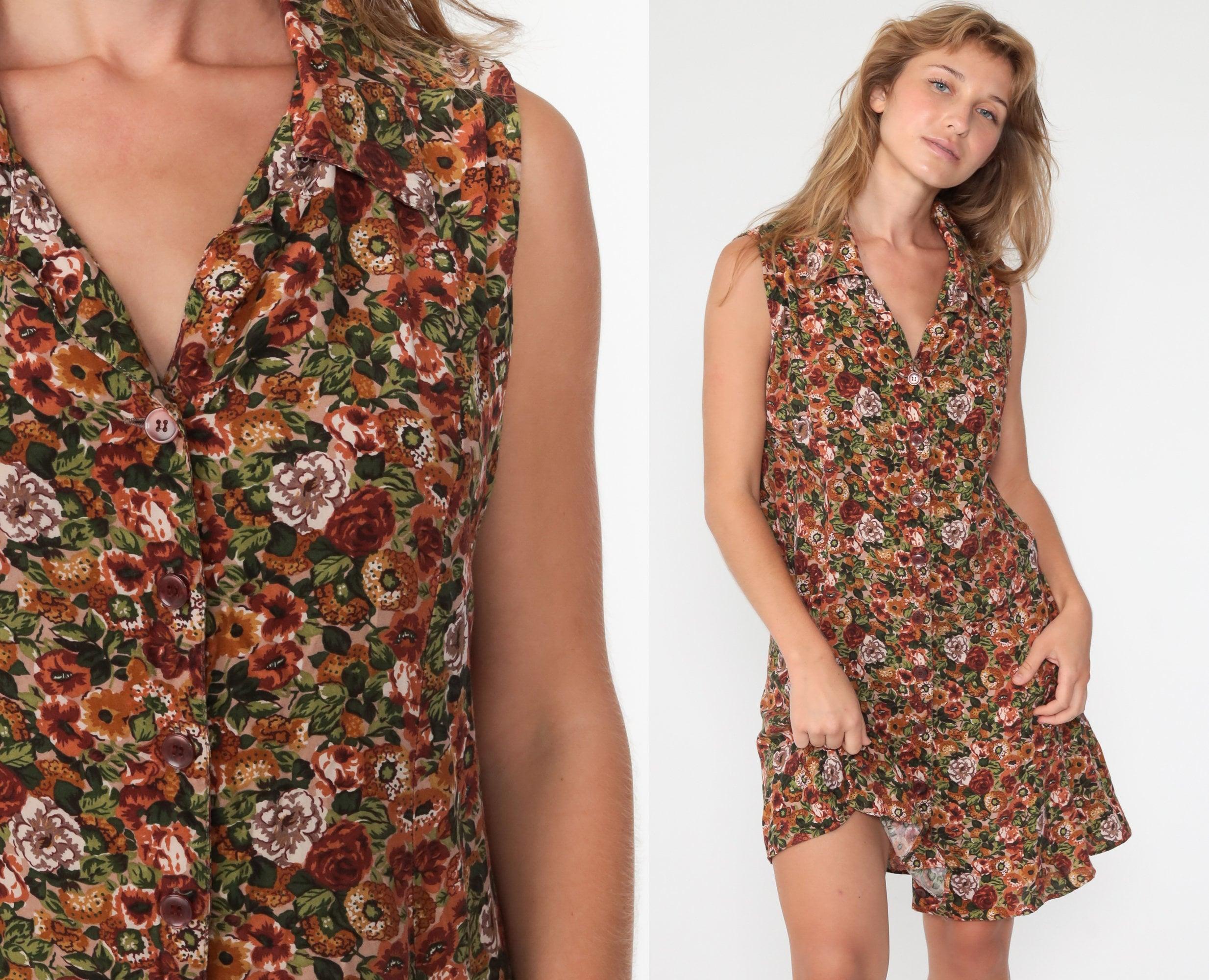 Embossed Floral Dress 90s Green Floral Mini Slip Dress Boho Long Sleeve 1990s Bohemian Shift Vintage Bohemian Hippie Minidress Small Medium