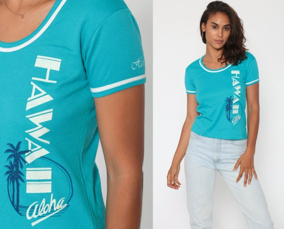 80s Hawaii Shirt Blue T Shirt Baby Tee Aloha Shirt Vintage T Shirt Tight Girly Fit Tshirt 1980s Hawaiian Souvenir Cap Sleeve Blouse Small