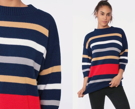 Striped Sweater 80s Knit Grunge Sweater Slouch Navy Blue Red 1980s Jumper Vintage Pullover Retro Tan Striped 3/4 Sleeve Medium