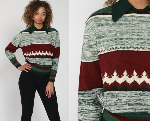Boho Sweater 70s SPACE DYE Sweater Green Striped Knit Sweater Bohemian Hippie Pullover Vintage Collared Christmas Brown Medium