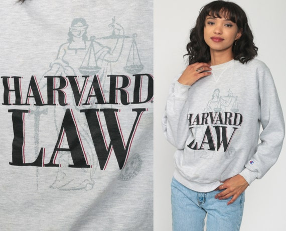 90s Harvard Sweatshirt Champion University Shirt College Sweatshirt Spell Out Law School Graphic Slouchy Grey 1990s Vintage Medium