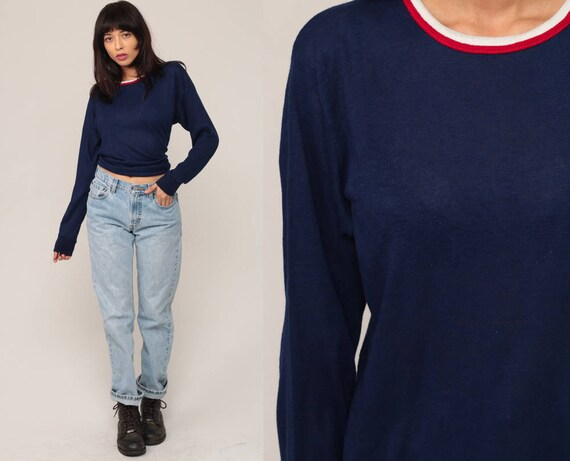 Ringer Tee Shirt Long Sleeve TShirt 80s T Shirt Navy Blue Plain Top 90s Grunge Hipster Retro Tee Vintage Normcore Extra Large xl