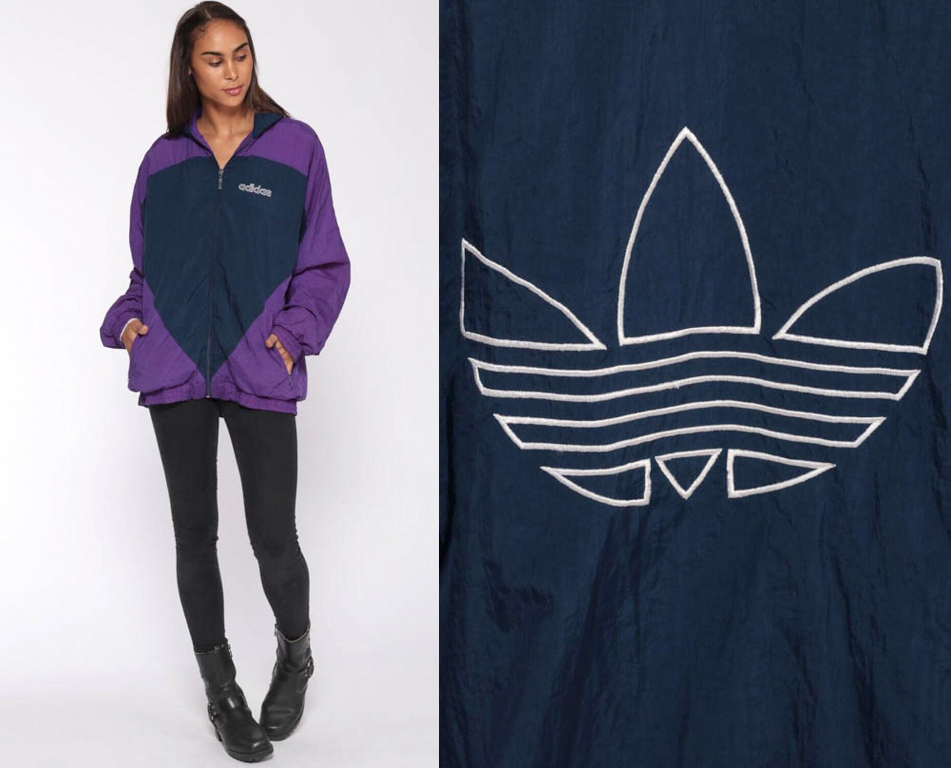 7f8ee972c920 Adidas Jacket 90s Windbreaker Jacket Color Block Jacket Blue Purple ...