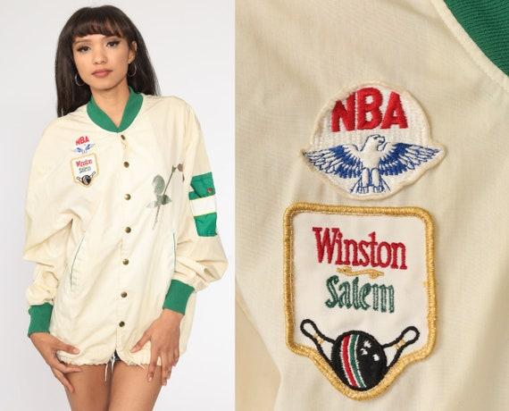 WINSTON Cigarette Jacket -- 80s Baseball Jacket Bowling Cream Cafe Racer Windbreaker Uniform Patch Jacket Vintage 1980s Large