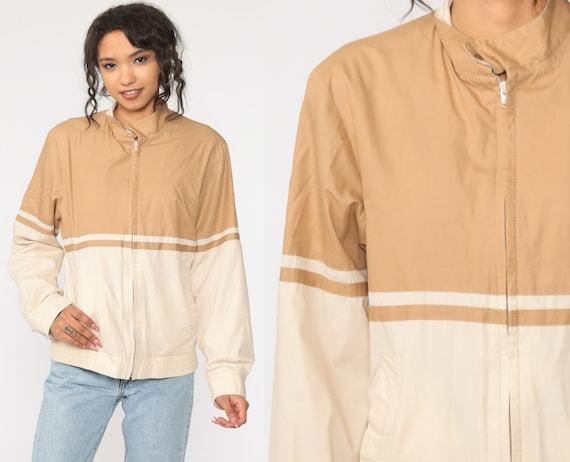 Striped Windbreaker Jacket COLOR BLOCK Jacket Zip Up Coat Tan Beige 80s Jacket Vintage Zip Up Jacket 1980s Small Medium