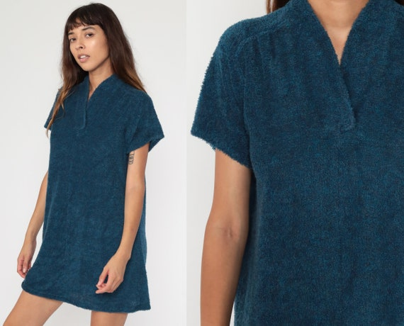 Blue Terry Dress 70s Terry Cloth Dress Navy 80s Mi