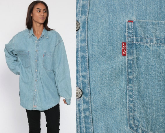 Levis Denim Shirt 90s Light Blue Button Up Shirt Jean Shirt Grunge Streetwear Long Sleeve Cotton Oversized Button Down Medium Large
