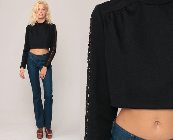 Black Crop Top Crochet Blouse CUTOUT Cropped Shirt 70s Blouse Bohemian Cut Out Disco Top Boho Hippie 1970s Hippie Long Sleeve Small Medium