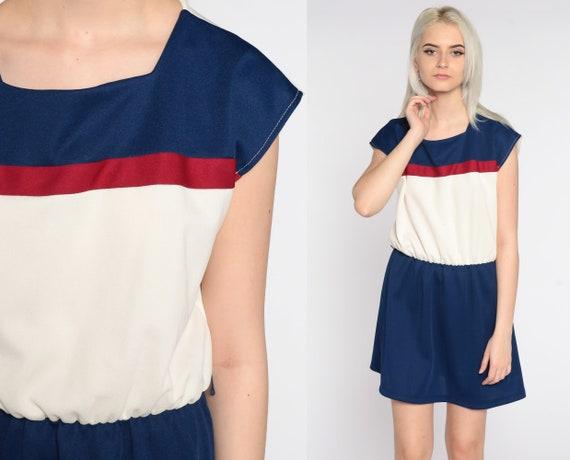 Striped Mini Dress 80s Horizontal Stripe Blue White Color Block Dress 70s Elastic High Waisted Retro Cap Sleeve 1980s Vintage Medium