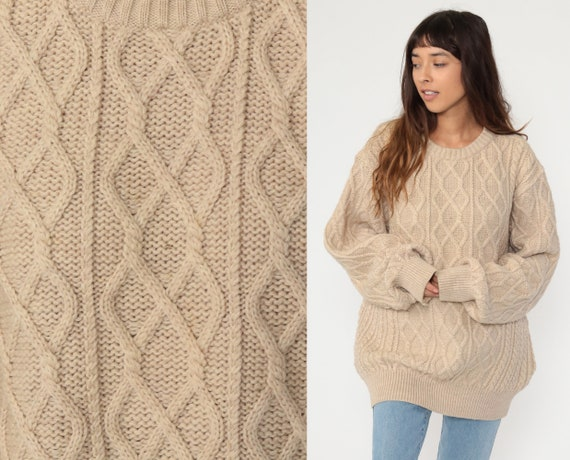 Tan Wool Sweater Cable Knit Sweater 80s Fisherman Slouchy Chunky Knit Boho Pullover Cableknit 1980s Jumper Vintage Men's Extra Large xl