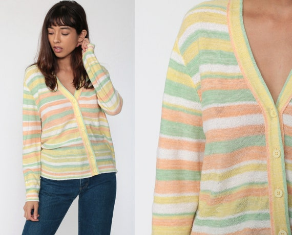 Pastel Cardigan Sweater 70s Striped Sweater 1970s Button Up Sweater Knit Sweater Striped Yellow Orange Vintage Retro Nerd Medium