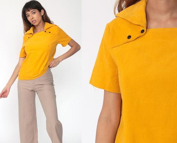 Yellow Corduroy Shirt 70s Shirt Mustard Shirt Hippie Blouse Short Sleeve Boho 1970s Vintage Tunic Top Tent Bohemian Medium