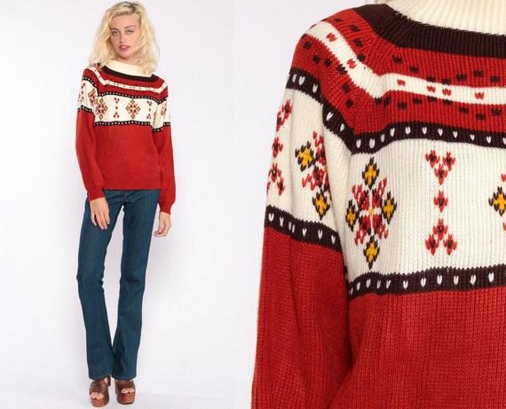 Fair Isle Sweater Norwegian Sweater Ethnic Bohemian 70s Boho Hippie Rust Knit Vintage 1970s Raglan Geometric Pullover Jumper Small Medium
