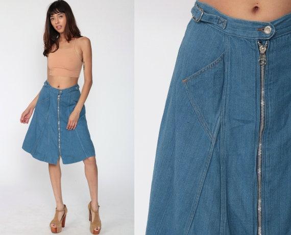 Wrangler Denim Skirt 70s Jean Skirt Zip Up Skirt 1970s High Waisted A Line Hippie Skirt Flared Midi Retro Vintage Blue Small
