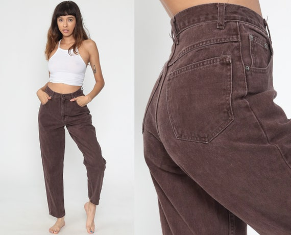 Brown Mom Jeans 90s Jeans High Waisted COLOR Jeans 1990s Denim Pants Tapered Colored Jeans 1980s Vintage Small 27