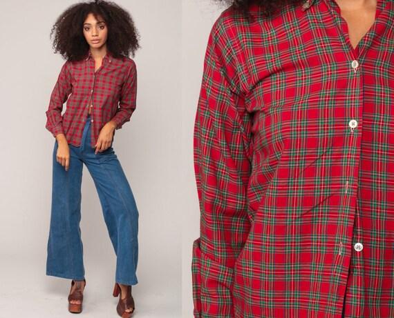90s Plaid Shirt Red Plaid Blouse Green Grunge Button Up Shirt 80s Vintage Long Sleeve Blouse Tartan Top Small