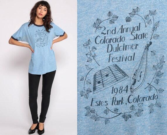 Dulcimer Shirt COLORADO STATE FESTIVAL 1984 Ringer Tee Graphic Shirt TShirt 80s T Shirt Retro Music Instrument Shirt Vintage Medium Large