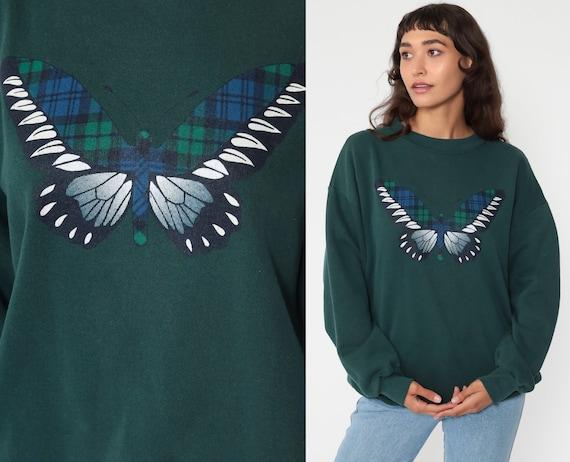 Plaid BUTTERFLY Sweatshirt 90s Jumper Graphic Sweatshirt Checkered 80s Sweater Vintage Shirt Retro Dark Green Slouchy Medium Large