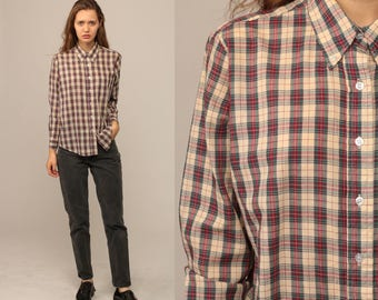 Plaid Blouse 90s Shirt Button Down Top Red Cream Green Pocket Grunge Vintage Button Up Hipster 80s Long Sleeve Retro Medium Large