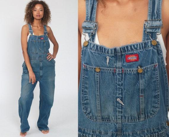 90s Dickies Overalls -- 1990s Denim Bib Overalls Baggy Dungarees Long Jean Pants Utility Pants Utilitarian Carpenter Workwear Medium Large