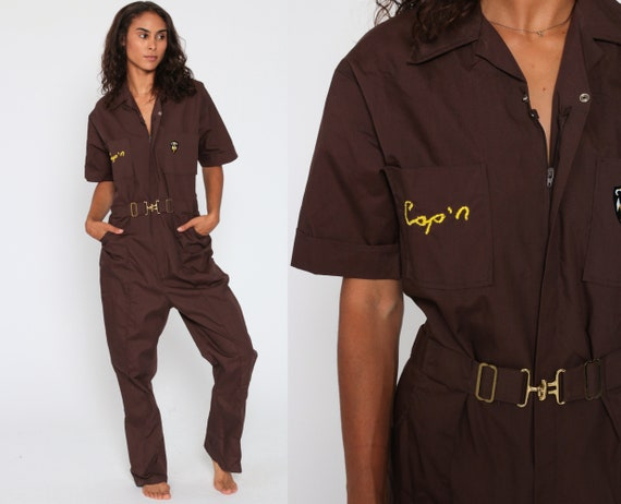 90s Coveralls Pants Jumpsuit -- 1990s Boiler Suit Workwear CAP'N One Piece Work Wear Brown Vintage Pantsuit Mechanic Boilersuit Small Medium