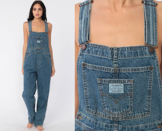 Levis Overalls 90s Denim Overalls Levi Strauss Jean Dungarees Grunge Suspender Boyfriend Fit Long Jean 1990s Streetwear Small Medium