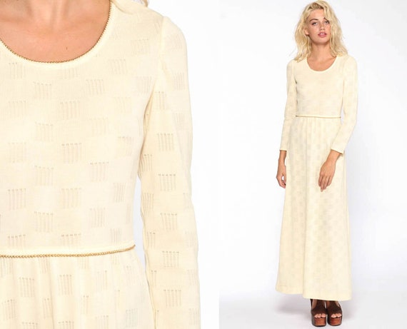 Cream Knit Maxi Dress 70s Bohemian Hippie Gold Trim Winter Party 1970s High Waisted Boho Cocktail Vintage Long Sleeve Extra Small xs