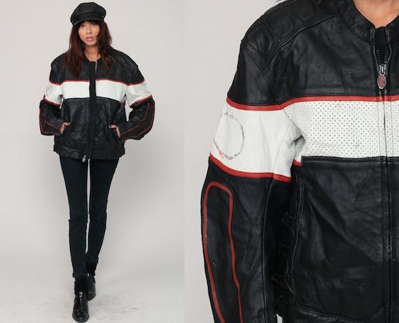 Black Leather Jacket FIRSTGEAR Javket 90s Black MOTORCYCLE Biker Jacket Cafe Racer Vintage Moto White Striped Hipster Coat Medium Large