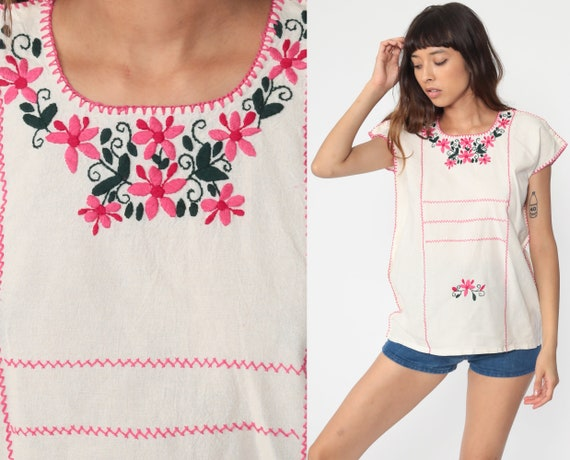 Mexican EMBROIDERED Blouse Hippie Top Floral Shirt Boho Shirt FESTIVAL Tunic Bohemian Vintage Ethnic Retro Cream Medium