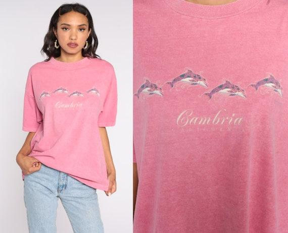 Cambria California T Shirt 90s Dolphin Shirt Pink Tshirt Tropical Graphic Tshirt Vintage Large xl l
