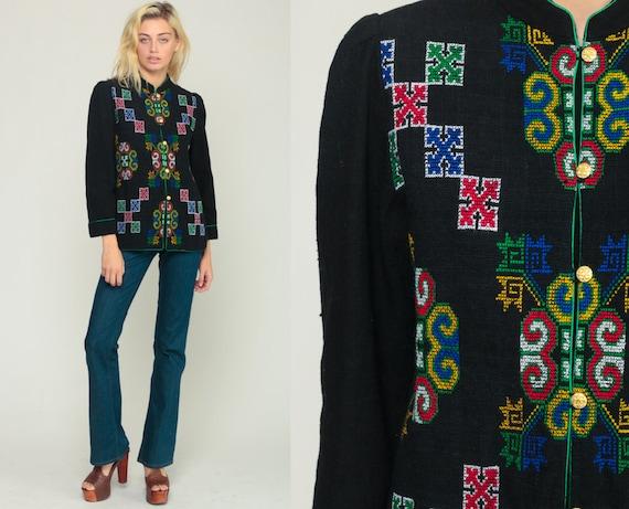 Tribal Jacket 70s Boho Jacket EMBROIDERED Jacket Aztec Jacket Festival Ethnic Bohemian Vintage 1970s Boho Hippie Puff Sleeve Small Medium
