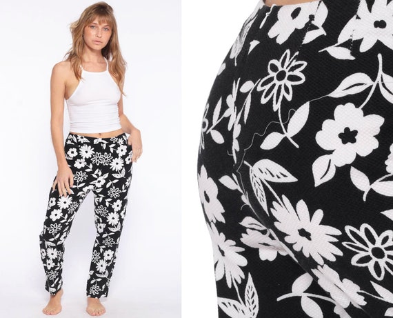 Slim Floral Trousers 90s Pants Black White Y2K Skinny Pants USA Hippie Pants Boho Pants High Waisted Trousers Vintage Bohemian Small 28