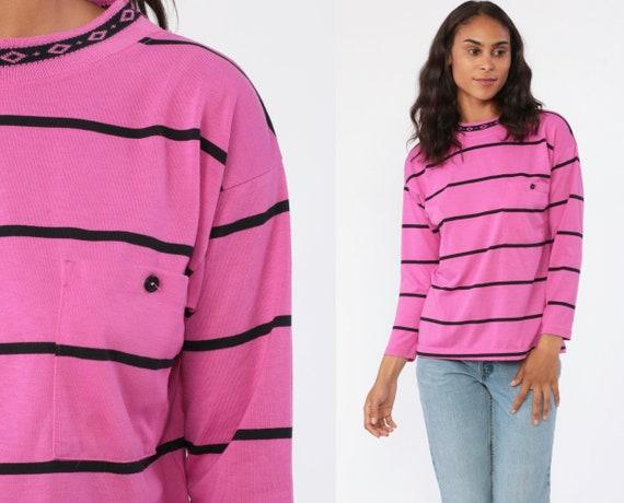 Long Sleeve Striped Shirt 80s Pink Shirt Diamond Collar 1980s Top Long Sleeve Black 1990s Retro Grunge Top Pocket Tee Vintage Small