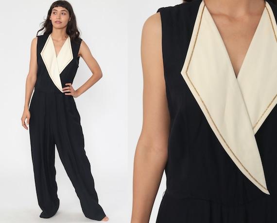 Black Jumpsuit Tall Tapered Jumpsuit 80s Jumpsuit Deep V Neck Gold Trim High Waisted Pant 1980s Vintage Pantsuit Sleeveless Large