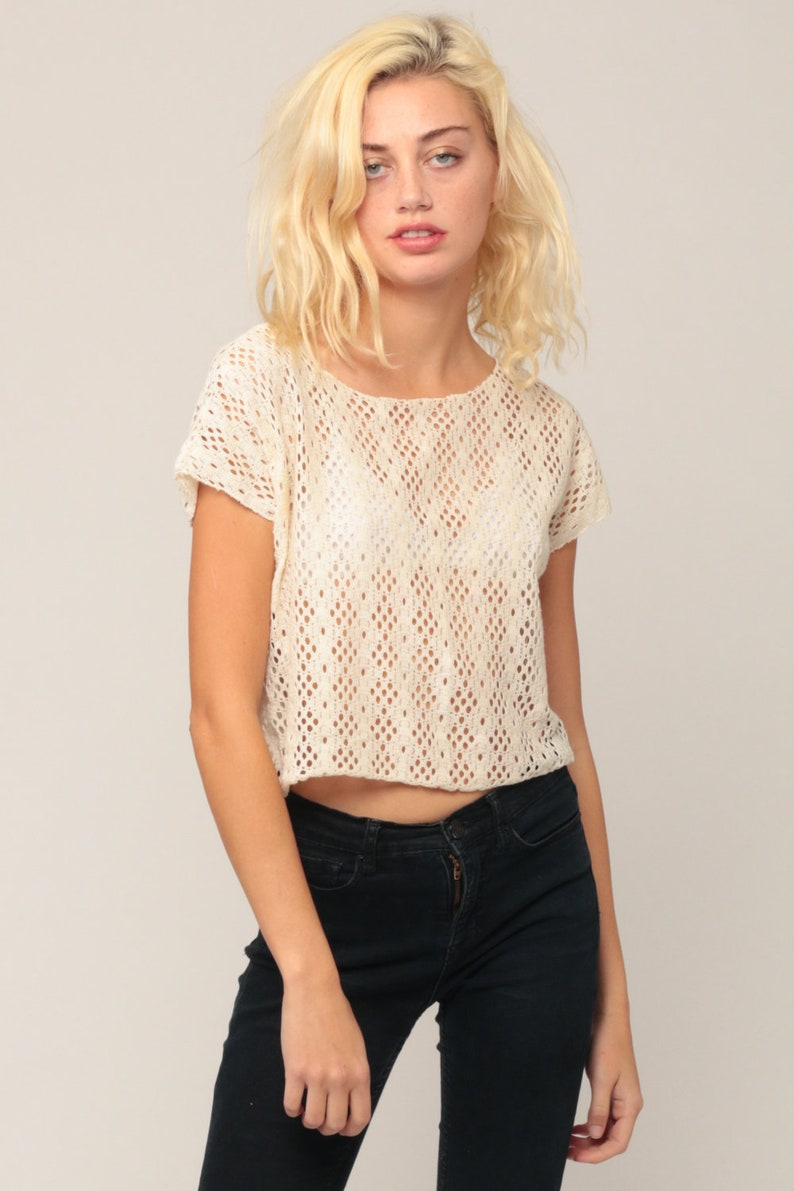 Lace Crop Top 90s Shirt Sheer Blouse Cut Out Top Grunge 1990s Vintage Cropped Shirt Cutout Off-White Retro Cap Sleeve Hipster Medium Large