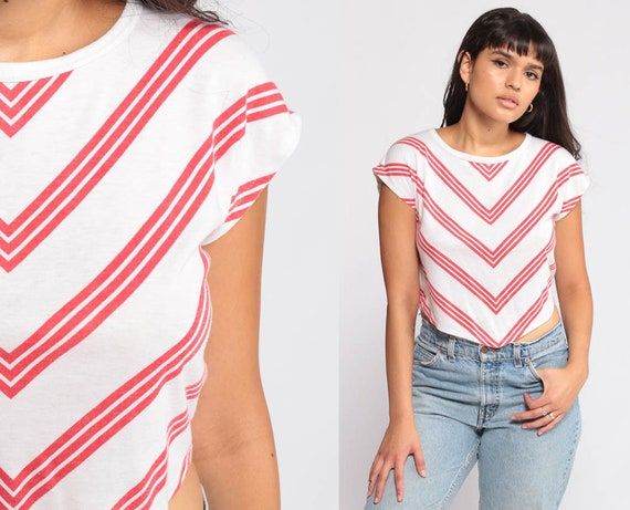 Striped Top KEYHOLE Shirt 80s Striped Shirt Chevron Red White Cutout CAP Sleeve Crop Top 70s Retro Vintage Boho Small