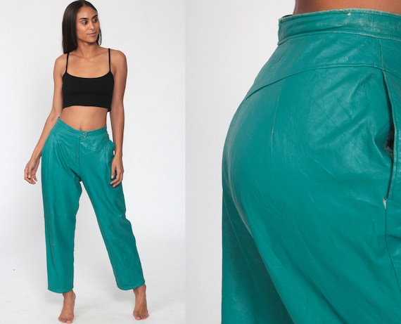 90s Leather Pants Green High Waisted TEAL Pants YOKE Pants 80s Trousers Baggy Pants Vintage Hipster High Waist Zipper Fly Guy Fulop Small