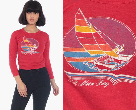 Half Moon Bay Sweatshirt 80s San Mateo Shirt California Sailboat Long Sleeve Jumper Pullover 1980s Graphic Vintage Red Extra Small xxs xs