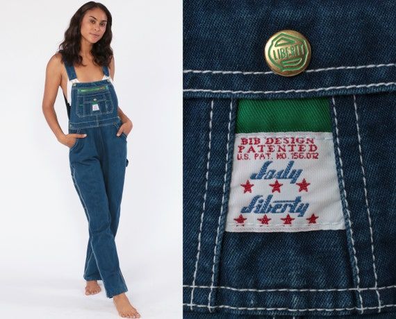 Bib Overalls 80s Denim Pants Baggy Dungarees LADY LIBERTY Grunge Long Jean Pants 1980s Boyfriend Suspender Carpenter One Piece Medium