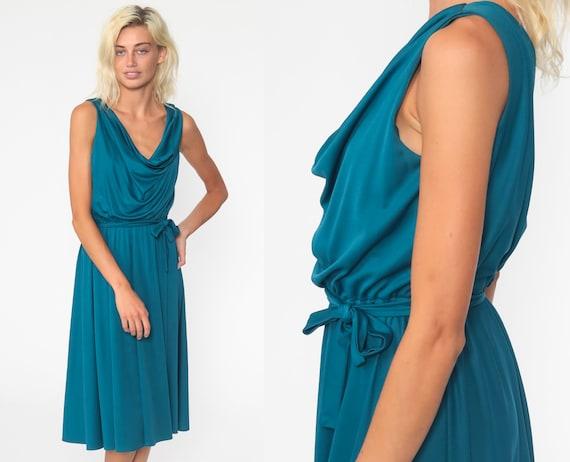 Blue Grecian Dress 70s Midi Boho Cowl Neck High Waist Teal Blue Dress 1970s Vintage Bohemian Sleeveless Simple Party Disco Medium