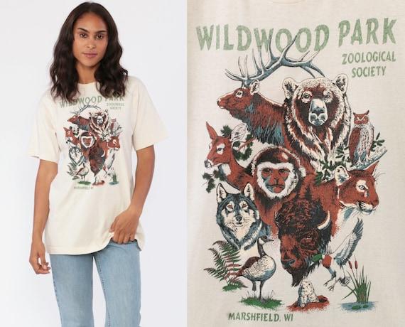 Zoo Shirt 80s Animal Tshirt Graphic Marshfield Wisconsin T Shirt ZOOLOGICAL SOCIETY Burnout Tee Wildwood Park Vintage 1980s Small Medium