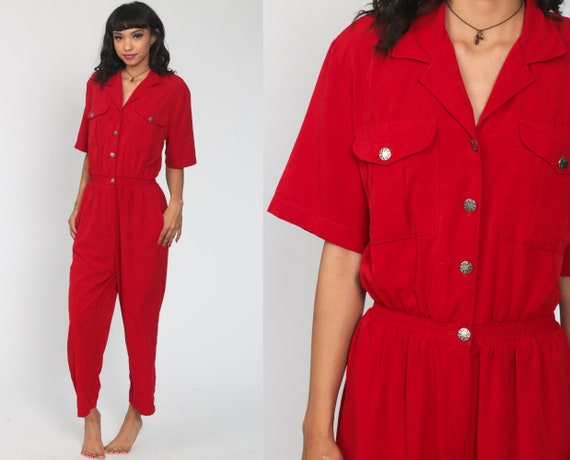 80s Jumpsuit Plain Red Red Tapered Pant Button Up High Waisted 90s Vintage Pantsuit Short Sleeve Medium